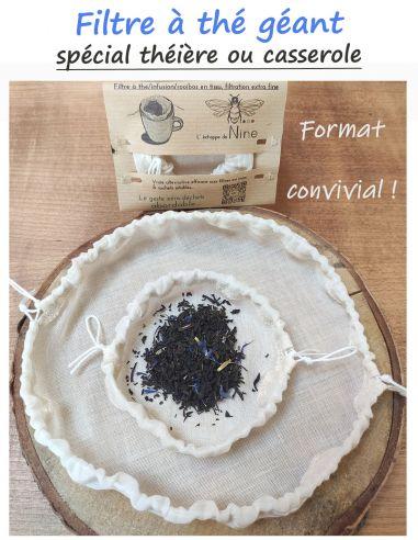 Filtre à thé, Rooibos, maté, infusion format géant, familial ou convivial, en tissu par l'échoppe de Nine