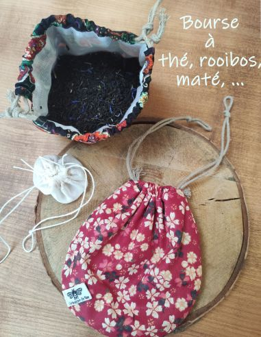 Bourse à thé, rooibos, maté, infusion en coton Oekotex motif fleuri japonais rouge doublé coton alimentaire de l'échoppe de Nine