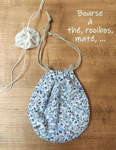 Bourse à thé, rooibos, maté, infusion en coton Oekotex motif fleurs liberty bleu doublé coton alimentaire de l'échoppe de Nine