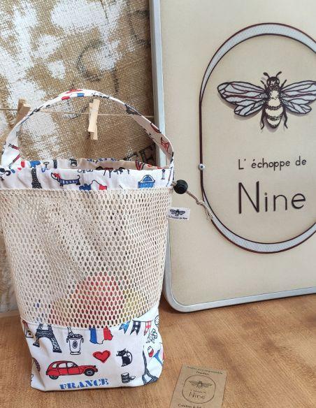 Sac de courses filet motif France pour courses de vrac lourd par l'échoppe de Nine