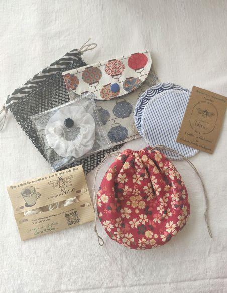 Coffret cadeau bourse à savon, filtre à thé/pochette + 2 lingettes/pochette de voyage + filet de lavage par l'échoppe de Nine