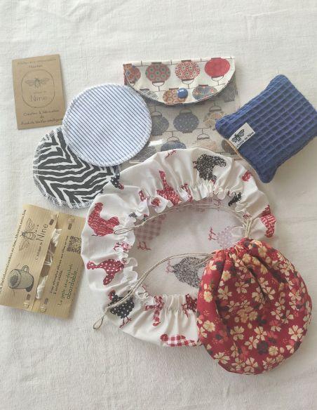 Coffret cadeau bourse à savon, filtre à thé + 2 lingettes/pochette de voyage + charlotte + éponge par l'échoppe de Nine