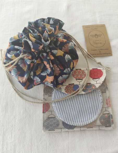 Coffret cadeau bourse à savon, filtre à thé + 2 lingettes/pochette de voyage  + bourse/panière par l'échoppe de Nine