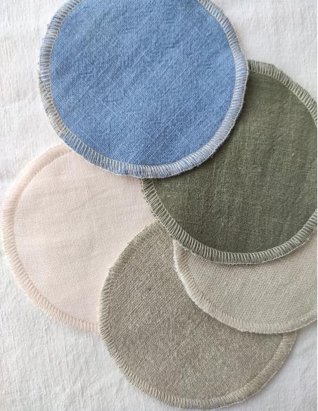 Lingettes LIN & Tencel® coloris naturel, écru, kaki, bleu gris & rose poudré par l'échoppe de Nine