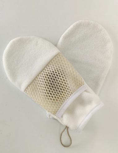 Gant recycleur de restes de savons en éponge d'eucalyptus (Tencel®) par l'échoppe de Nine