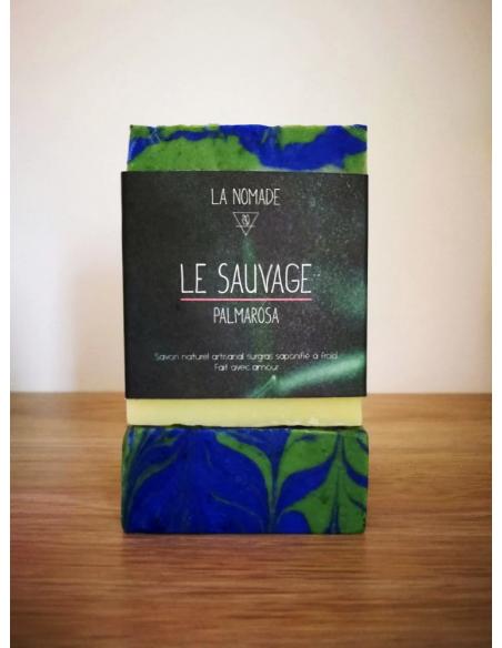 """Savon artisanal """"le Sauvage"""" aux huiles essentielles de palmarosa fabriqué en France avec Amour par La Nomade"""