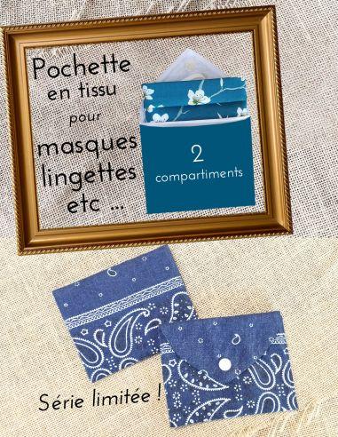 Pochette tissu jean léger bleu, motifs cachemire, par l'Echoppe de Nine