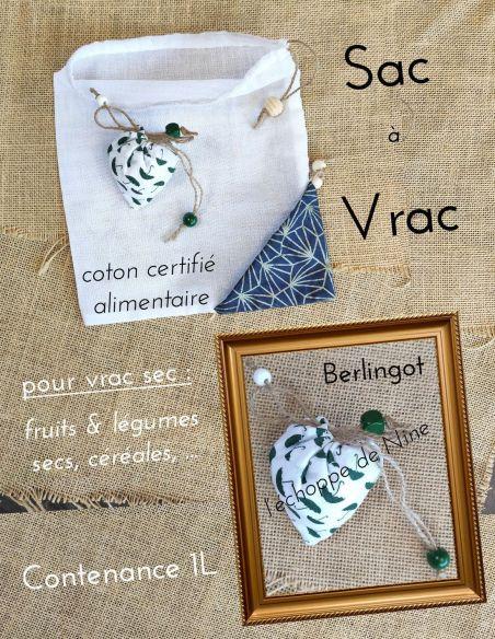 Sac berlingot repliable motifs petits parapluies verts fond blanc pour courses de vrac fin par l'échoppe de Nine