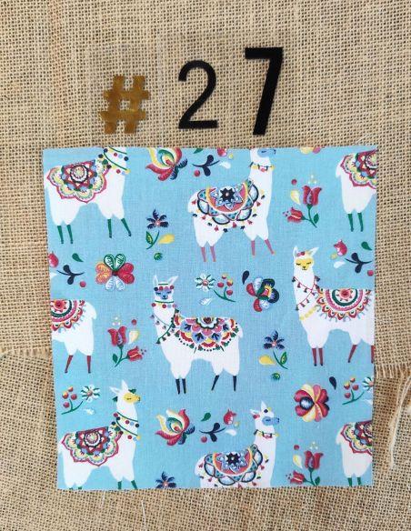 Tissu motifs lamas colorés fond bleu clair pour Sac à vrac berlingot par l'échoppe de Nine