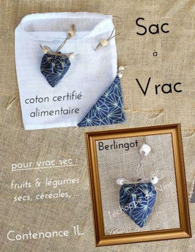 Sac berlingot repliable motifs graphiques pailletés or fond bleu marine pour courses de vrac fin par l'échoppe de Nine