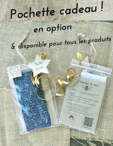 Pochette cadeau pour masques, lingettes démaquillantes, pochettes, sacs à vrac par l'Echoppe de Nine