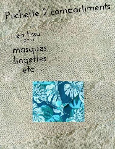 Pochette personnalisable motifs ramages feuilles écrus & verts fond bleu par l'échoppe de Nine