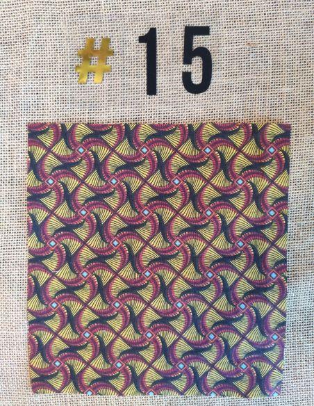 Tissu style wax graphique noir & bordeaux pour Pochette personnalisable par l'échoppe de Nine