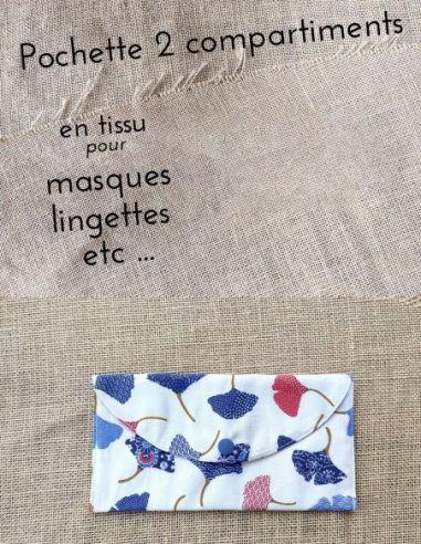 Pochette personnalisable motif feuilles de Ginkgo bleu & rouges fond écru par l'échoppe de Nine