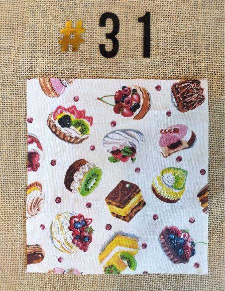 Tissu rétro motifs pâtisseries gourmandises pour Pochette personnalisable par l'échoppe de Nine