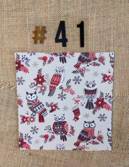 Tissu motifs petites chouettes & flocons thème Noël pour Pochette personnalisable par l'échoppe de Nine