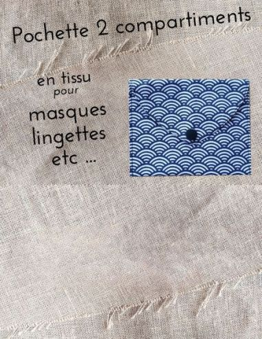 Pochette personnalisable motifs écailles blanches fond bleu marine par l'échoppe de Nine