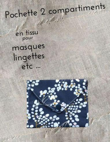 Pochette personnalisable motifs inspiration japonaise fond bleu marine par l'échoppe de Nine