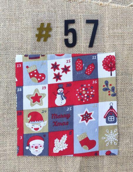 Tissu motif calendrier de l'avent thème Noël pour Pochette personnalisable par l'échoppe de Nine