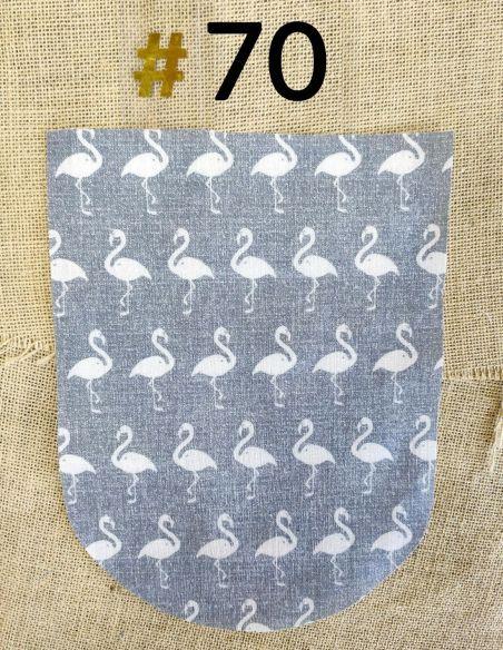 Tissu flamand roses écrus fond gris pour Pochette personnalisable par l'échoppe de Nine
