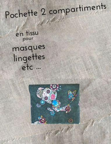 Pochette personnalisable  toile sergée kaki motifs tête de mort par l'échoppe de Nine