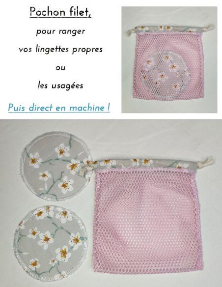 Filet de lavage pour lingettes coloris rose par l'échoppe de Nine