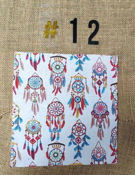 Tissu motifs attrapes rêves fond blanc pour Lingettes personnalisablespar l'échoppe de Nine