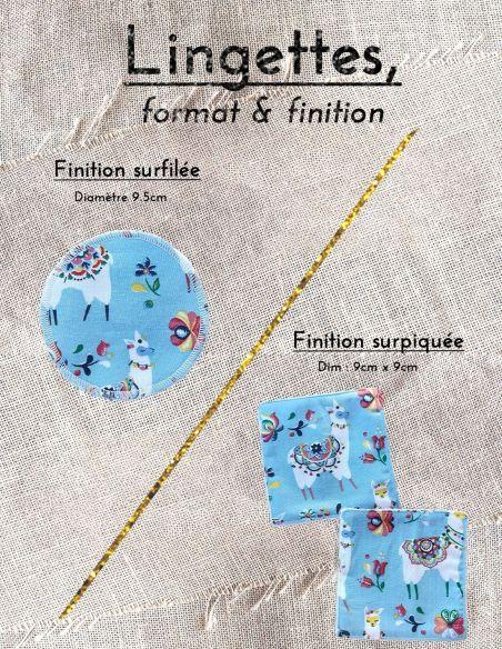Lingettes personnalisables motifs lamas colorés fond bleu clair par l'échoppe de Nine