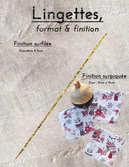 Lingettes personnalisables motifs petites chouettes & flocons thème Noël par l'échoppe de Nine