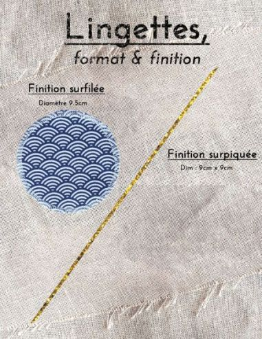 Lingettes personnalisables motifs écailles blanches fond bleu marine par l'échoppe de Nine