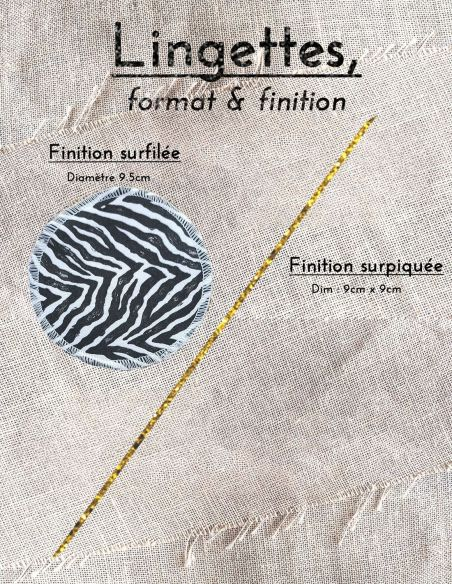 Lingettes personnalisables zèbre Noir & blanc par l'échoppe de Nine