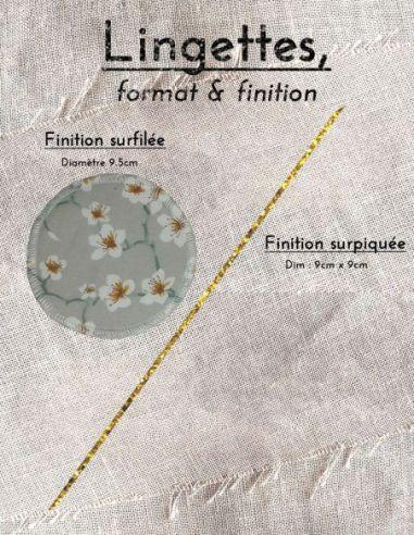 Lingettes personnalisables motif fleurs de cerisier blanches fond gris clair par l'échoppe de Nine