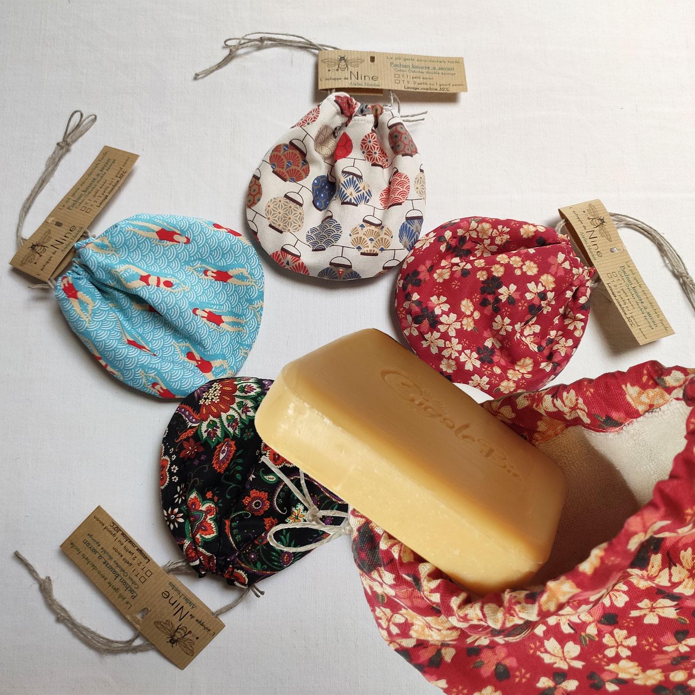 Bourses à savon ou shampoing solidede l'échoppe de Nine