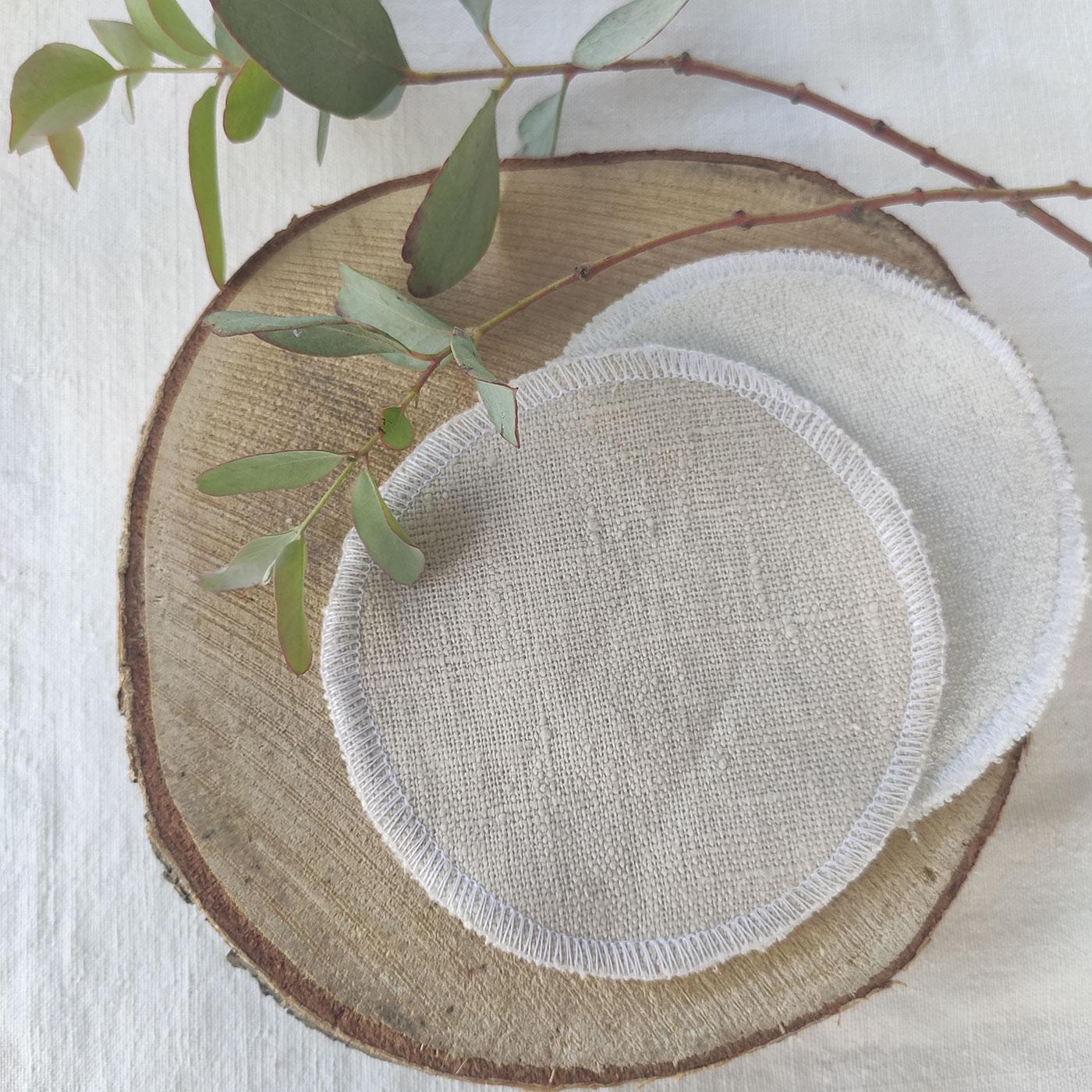 Les lingettes nettoyantes/démaquillantes/lin en eucalyptus par l'échoppe de Nine